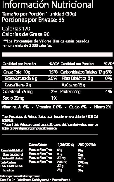 jet leche tabla nutricional 30gr
